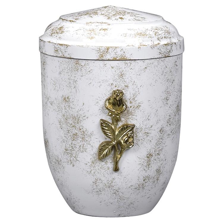 Edelplatal-Urne aus Stahl weiß, antik gold patiniert mit massiver Rose: 262 mm, ø = 183 mm