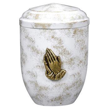 Edelplatal-Urne aus Stahl weiß, antik gold patiniert mit betenden Händen (Messing): 262 mm, ø = 183 mm 001