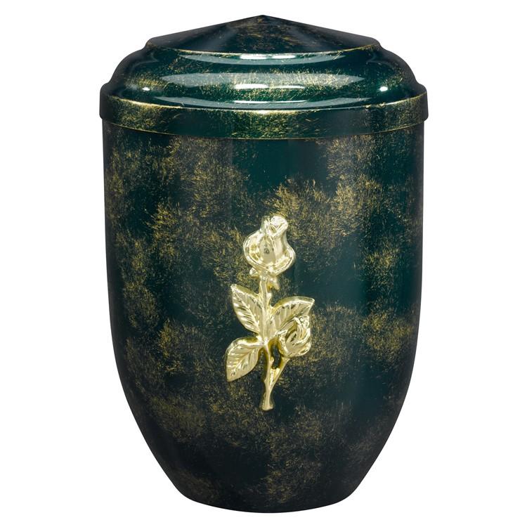 Edelplatal-Urne aus Stahl grün, antik gold patiniert mit massiver Rose: 262 mm, ø = 183 mm
