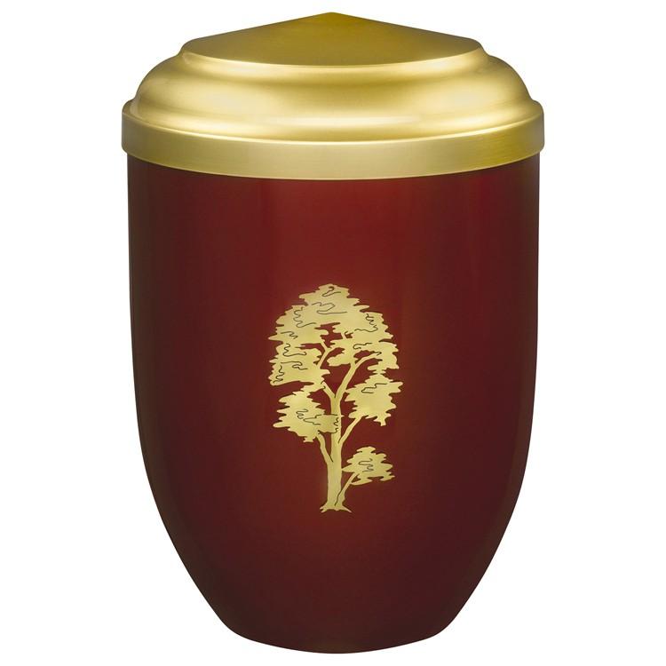 Edelplatal-Urne aus Stahl rot mit Messingbaum und messingfarbigem Deckel: 262 mm, ø = 183 mm