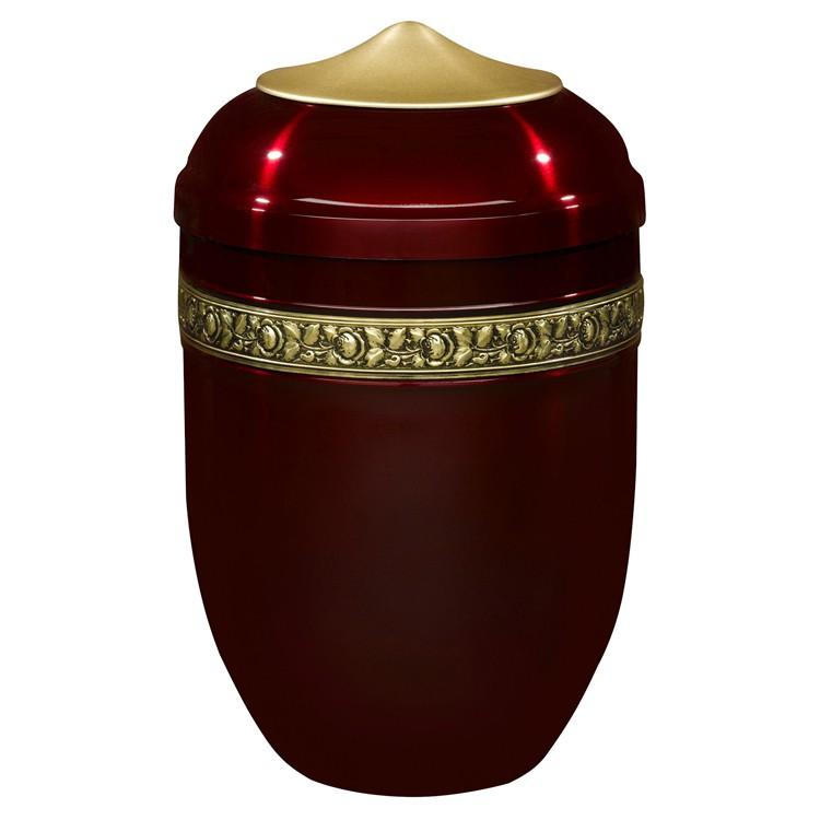Edelplatal-Urne aus Stahl bordeaux mit Rosen-Dekorband: 284 mm, ø = 183 mm