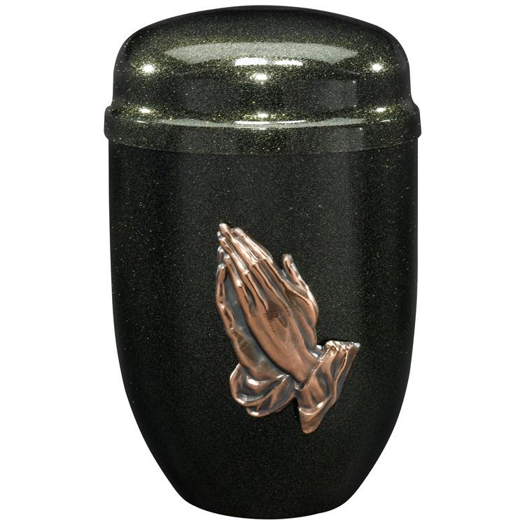 Edelplatal-Urne aus Stahl schwarz mit Glimmer-Effekt und Betenden Händen: 276 mm, ø = 182 mm