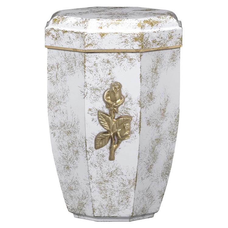 Edelplatal-Urne aus Stahl weiß, antik gold patiniert mit massiver Rose+Goldband am Deckel:265 mm,ø=194mm