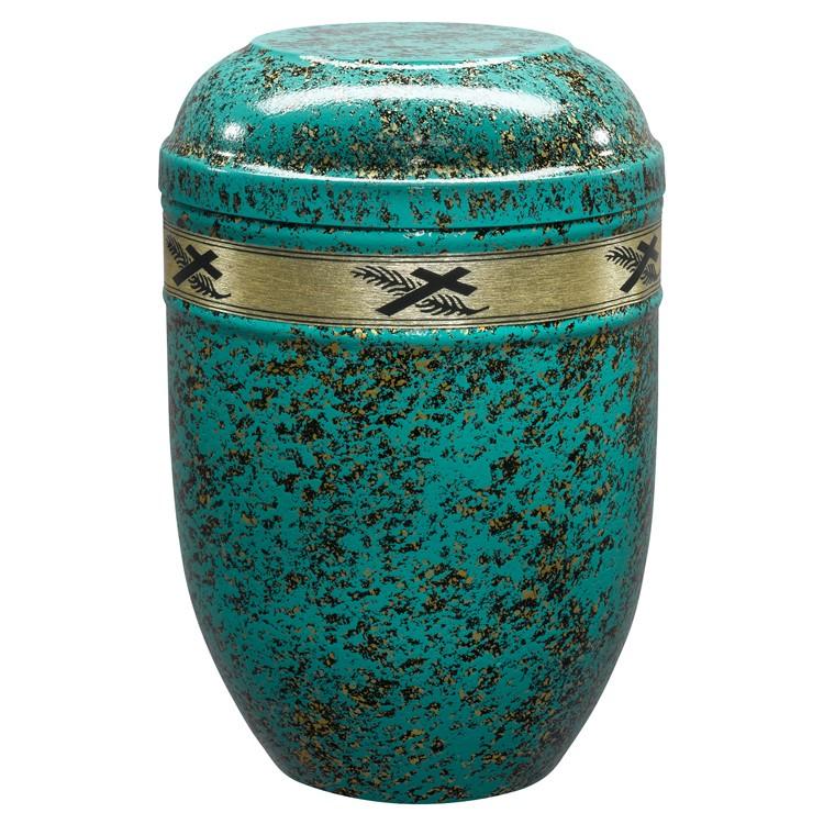 Edelplatal-Urne aus Stahl türkis/gold patiniert mit Dekorband KREUZ/PALME : 258 mm, ø = 183 mm