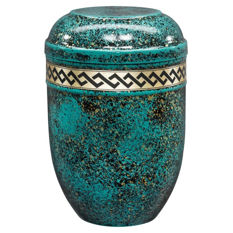 Edelplatal-Urne aus Stahl türkis/gold patiniert mit Dekorband RAUTE : 258 mm, ø = 183 mm