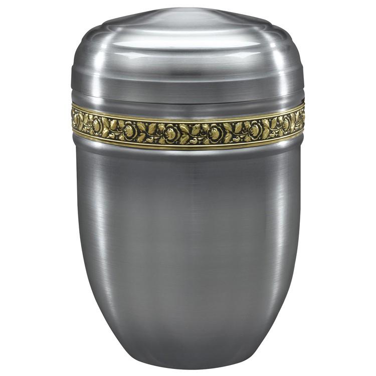 Edelplatal-Urne aus Stahl zinnfarbig mit Rosen-Dekorband: 266 mm, ø = 183 mm