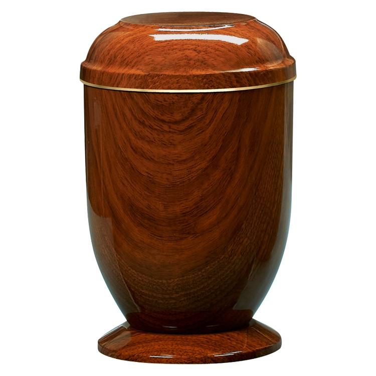 Edelplatal-Urne aus Stahl Teakholzdekor mit Goldband am Deckel, auf Sockel: 278 mm, ø = 183 mm