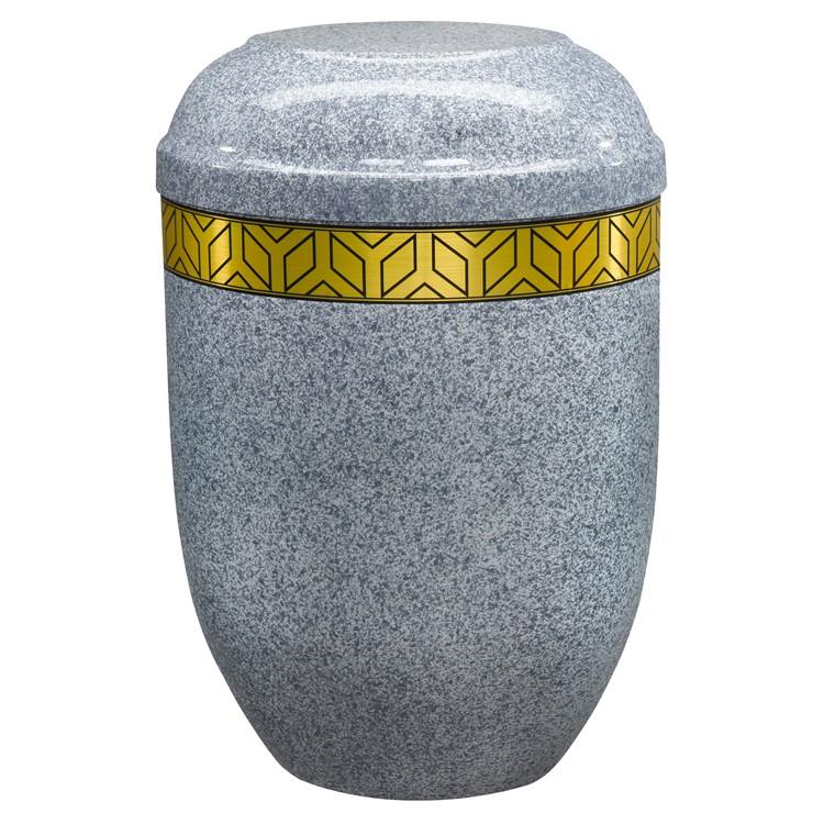 Edelplatal-Urne aus Stahl basaltgrau mit Dekorband: 258 mm, ø = 183 mm