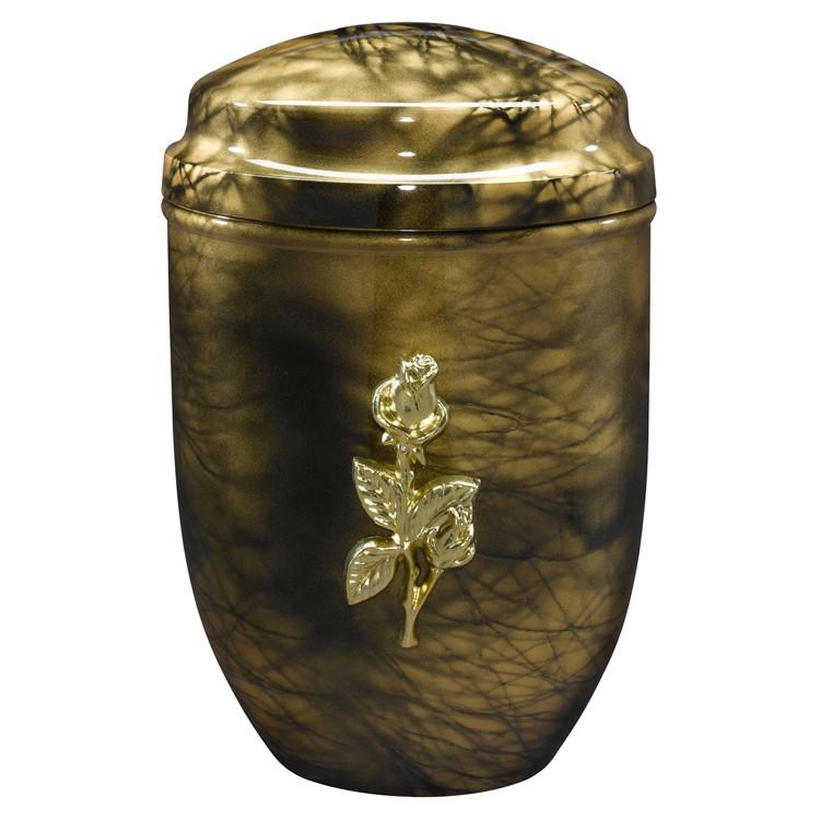 Edelplatal-Urne aus Stahl goldfarbig marmoriert mit Rosen-Emblem: 278 mm, ø = 183 mm