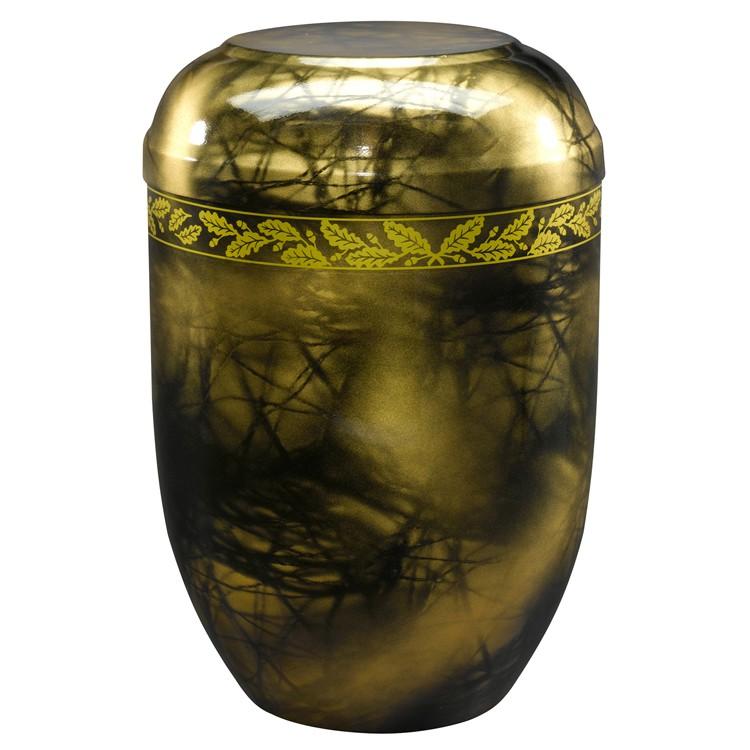 Edelplatal-Urne aus Stahl goldfarbig marmoriert mit Eichenlaub-Dekorband: 258 mm, ø = 183 mm