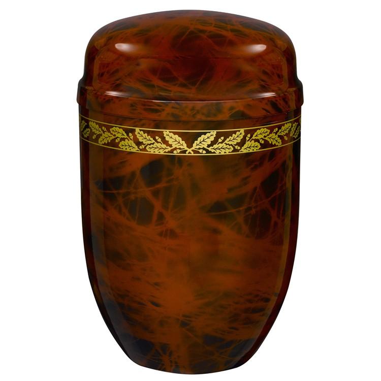 Edelplatal-Urne aus Stahl braunfarbig marmoriert mit Eichenlaub-Dekorband: 276 mm, ø = 182 mm