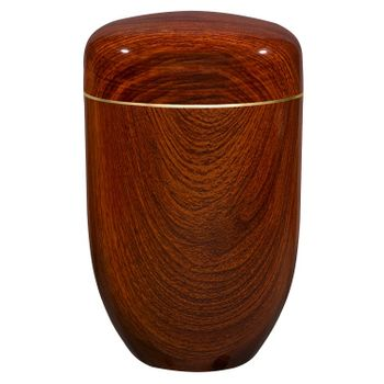 Edelplatal-Urne aus Stahl Teakholz beschichtet: 279 mm, ø = 181 mm 001