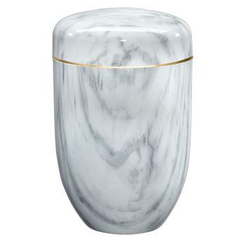 Edelplatal-Urne aus Stahl Marmor beschichtet weiß: 279 mm, ø = 181 mm 001