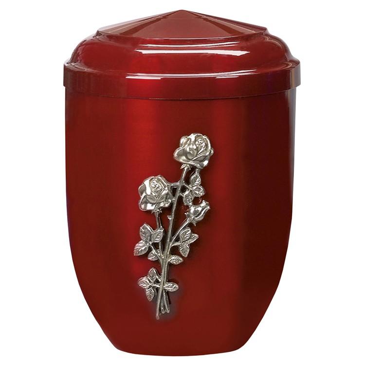 Edelplatal-Urne aus Stahl bordeaux mit silberfarbigem Metallguss-Emblem Rose : 262 mm, ø = 183 mm