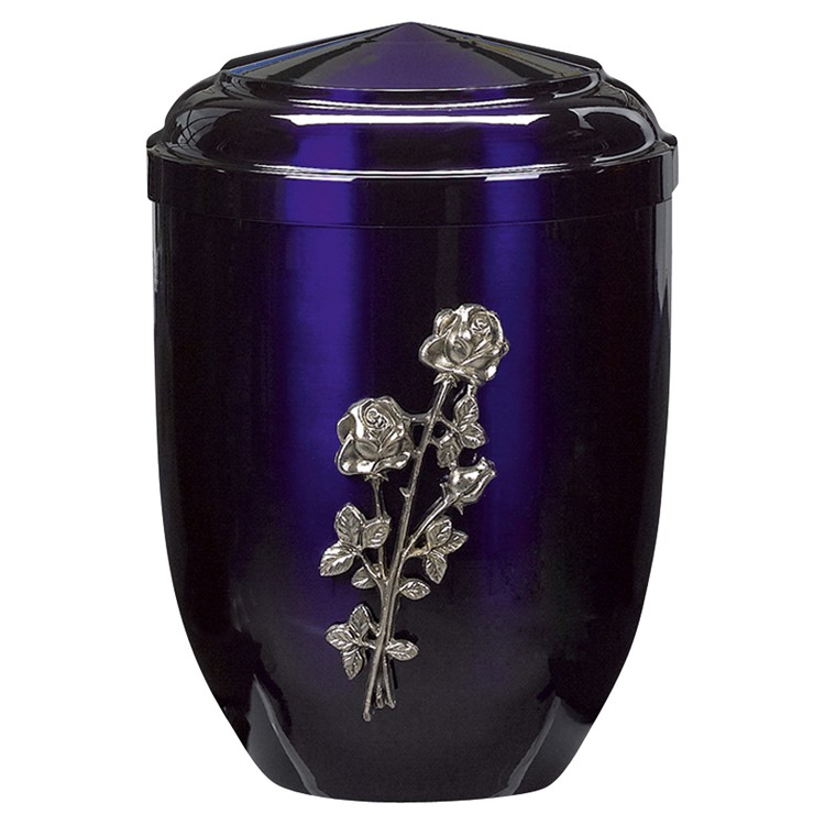 Edelplatal-Urne aus Stahl blau mit silberfarbigem Metallguss-Emblem Rose : 262 mm, ø = 183 mm