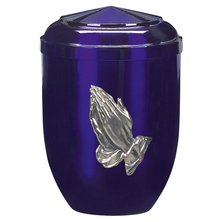 Edelplatal-Urne aus Stahl blau mit silberfarbigem Metallguss-Emblem bet. Hände : 262 mm, ø = 183 mm