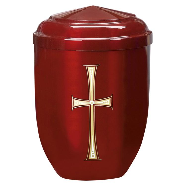 Edelplatal-Urne aus Stahl bordeaux mit Kreuz-Motiv: 262 mm, ø = 183 mm