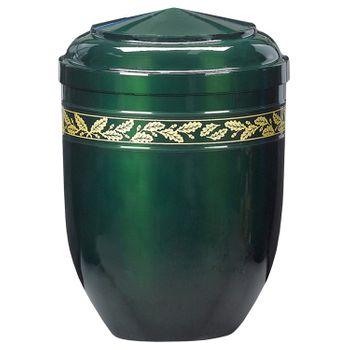 Edelplatal-Urne aus Stahl grün mit Eichenlaub-Dekorband: 262 mm, ø = 183 mm 001