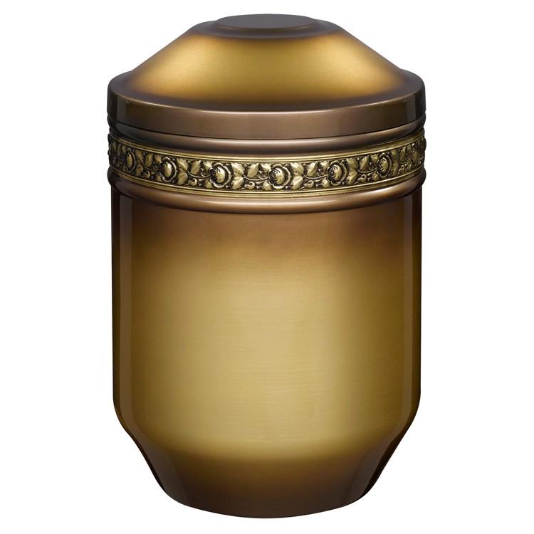 Edelplatal-Urne aus Stahl messingfarbig mit Rosen-Dekorband: 266 mm, ø = 183 mm
