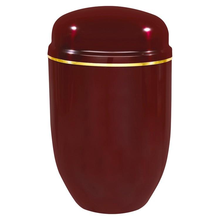 Edelplatal-Urne aus Stahl bordeaux mit Goldband am Deckel: 276 mm, ø = 182 mm