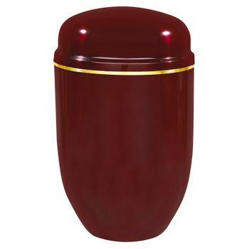 Edelplatal-Urne aus Stahl bordeaux mit Goldband am Deckel: 276 mm, ø = 182 mm 001