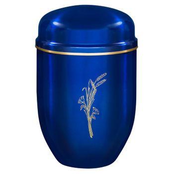 Edelplatal-Urne aus Stahl königsblau mit Motiv: ÄHRENSTRAUß und Goldband am Deckel: 276 mm, ø = 182 mm 001