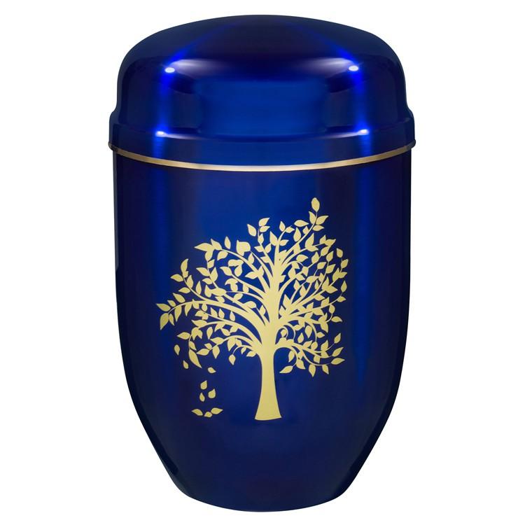 Edelplatal-Urne aus Stahl königsblau mit Motiv: LEBENSBAUM und Goldband am Deckel: 276 mm, ø = 182 mm