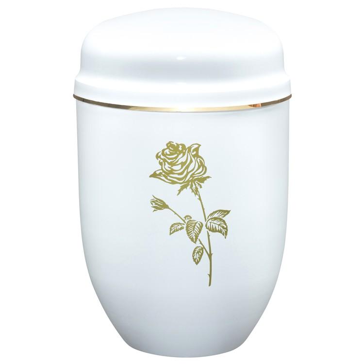Edelplatal-Urne aus Stahl weiß mit Motiv: ROSE und Goldband am Deckel: 276 mm, ø = 182 mm