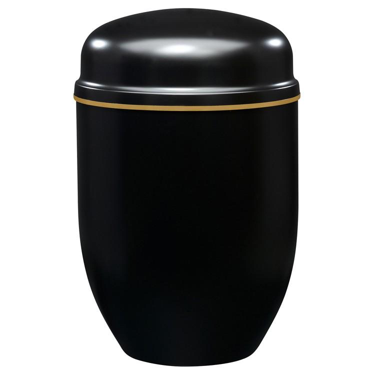 Edelplatal-Urne aus Stahl schwarz mit Goldband am Deckel: 276 mm, ø = 182 mm