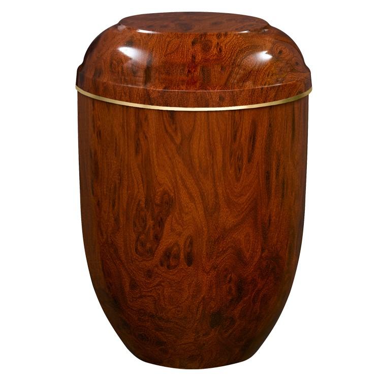 Edelplatal-Urne aus Stahl mit Wurzelholz-Effekt und Goldband am Deckel: 258 mm, ø = 183 mm