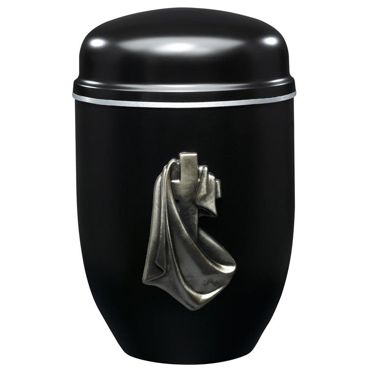 Edelplatal-Urne aus Stahl schwarz mit Emblem KREUZ und Silberband am Deckel: 276 mm, ø = 182 mm