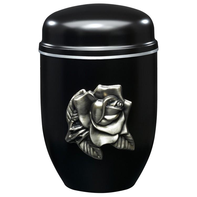 Edelplatal-Urne aus Stahl schwarz mit Emblem ROSE und Silberband am Deckel: 276 mm, ø = 182 mm