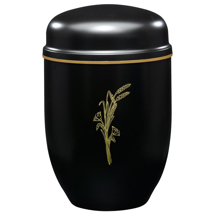 Edelplatal-Urne aus Stahl schwarz mit Motiv ÄHRENSTRAUSS und Goldband am Deckel: 276 mm, ø = 182 mm