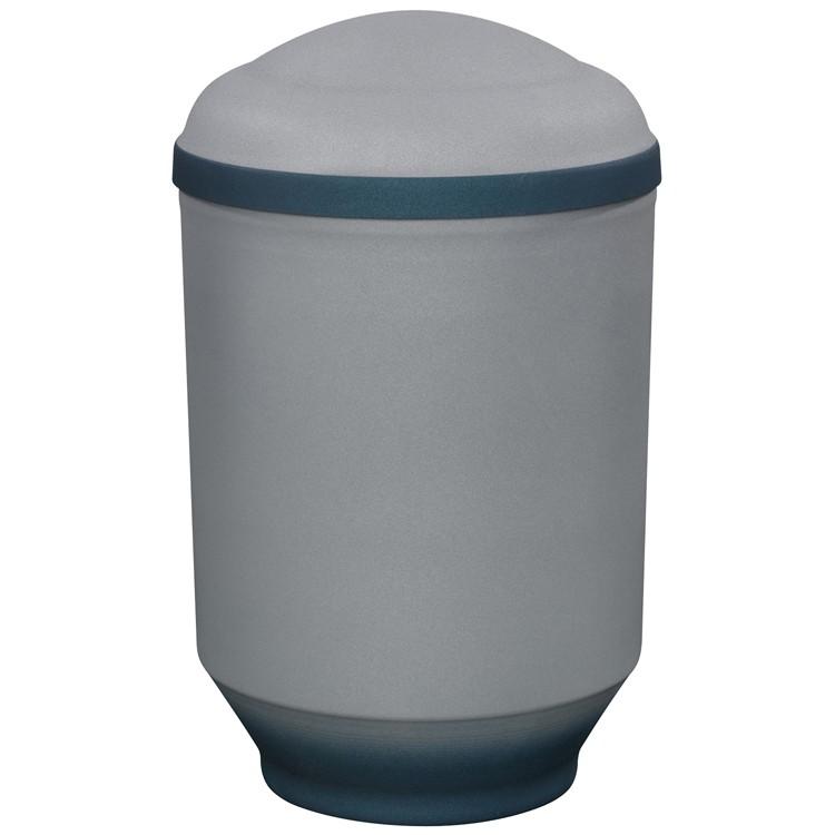 Edelplatal-Urne aus Stahl samtgrau mit blauem Deckelrand und Standfuss: 292 mm, ø = 183 mm