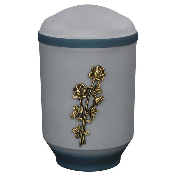 Edelplatal-Urne aus Stahl samtgrau mit Emblem STIELROSE u. blauem Deckelrand u. Standfuss: 292 mm, ø = 183 m