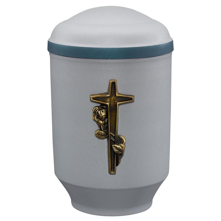 Edelplatal-Urne aus Stahl samtgrau mit Emblem KREUZ und blauem Deckelrand u. Standfuss: 292 mm, ø = 183 mm