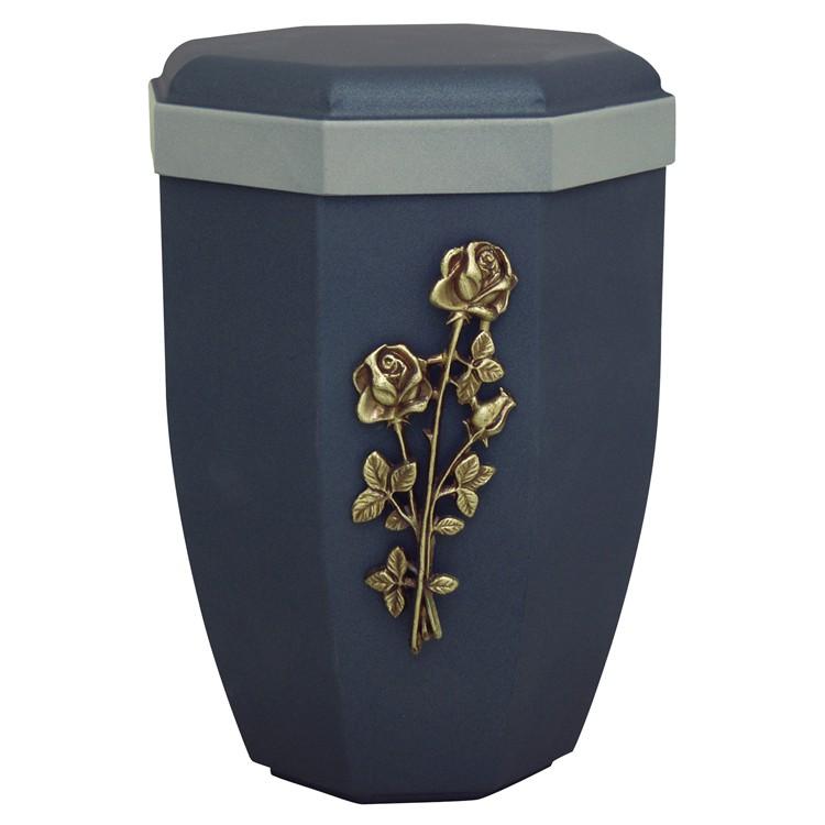 Edelplatal-Urne aus Stahl samtblau mit Emblem STIELROSE u. grauem Rand: 265 mm, ø = 194 mm