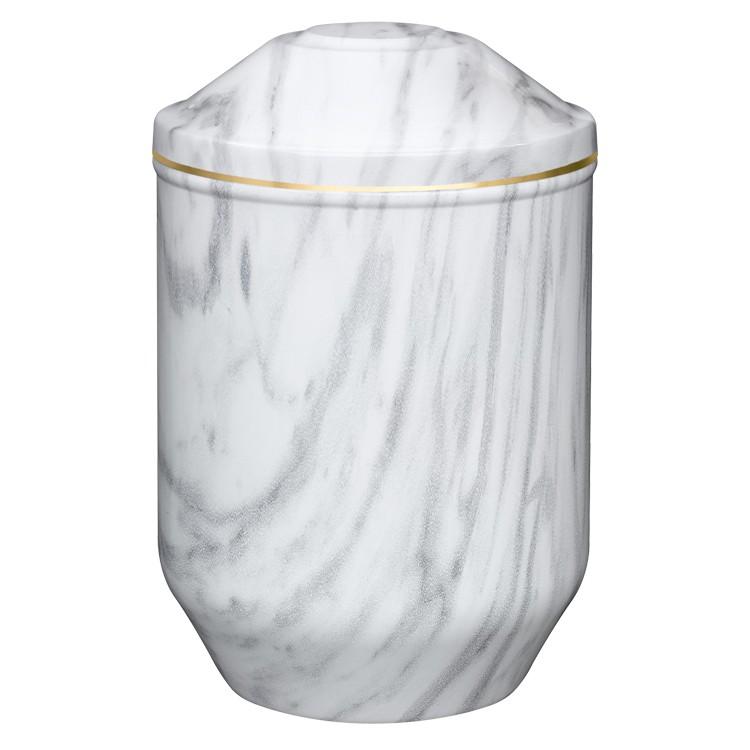 Edelplatal-Urne aus Stahl mit Marmoroberfläche weiß/grau und Goldband am Deckel: 266 mm, ø = 183 mm