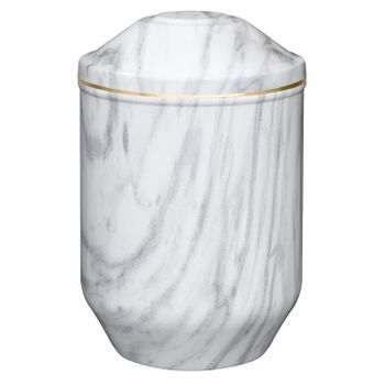 Edelplatal-Urne aus Stahl mit Marmoroberfläche weiß/grau und Goldband am Deckel: 266 mm, ø = 183 mm 001