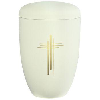 Edelplatal-Urne aus Stahl cremeweiß matt KREUZ : 285 mm, ø = 180 mm 001