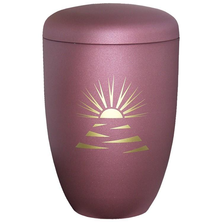Edelplatal-Urne aus Stahl brombeer matt SONNENSTRAHLEN : 285 mm, ø = 180 mm