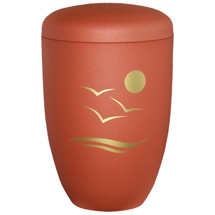 Edelplatal-Urne aus Stahl ahornfarben matt SONNENUNTERGANG : 285 mm, ø = 180 mm