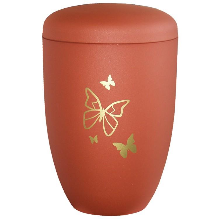 Edelplatal-Urne aus Stahl ahornfarben matt SCHMETTERLINGE : 285 mm, ø = 180 mm