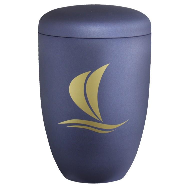Edelplatal-Urne aus Stahl blau matt SEGELBOOT : 285 mm, ø = 180 mm