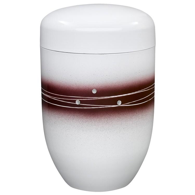 Edelplatal-Urne aus Stahl weiß mit rotem Zierdekor und Strasssteinen: 279 mm, ø=181 mm
