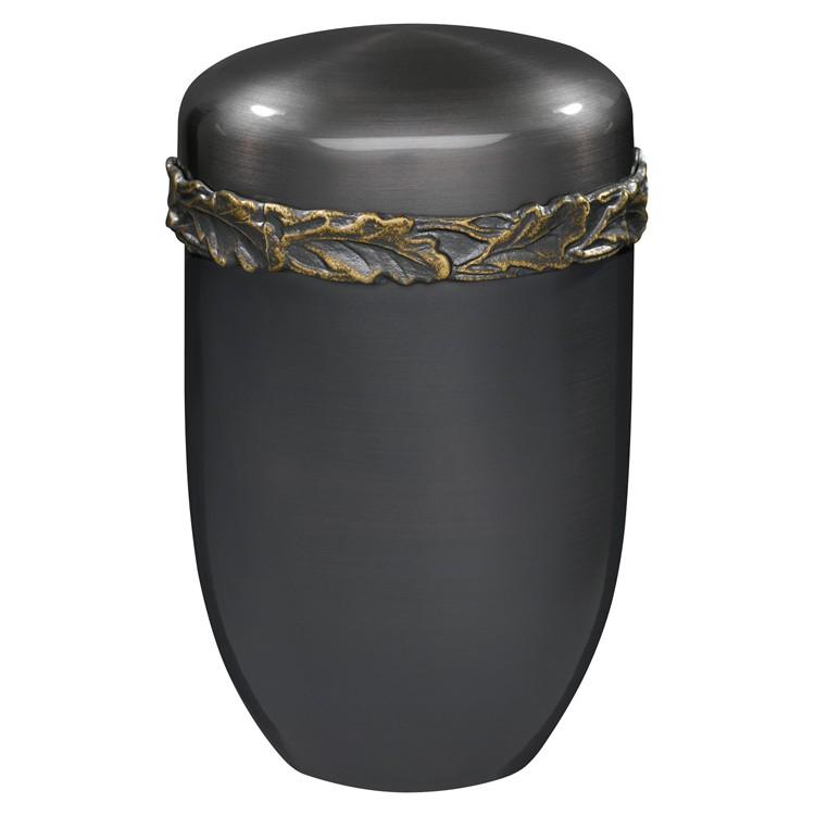 Kupfer-Urne brüniert mit Eichenlaubfries: 288 mm, ø = 192 mm