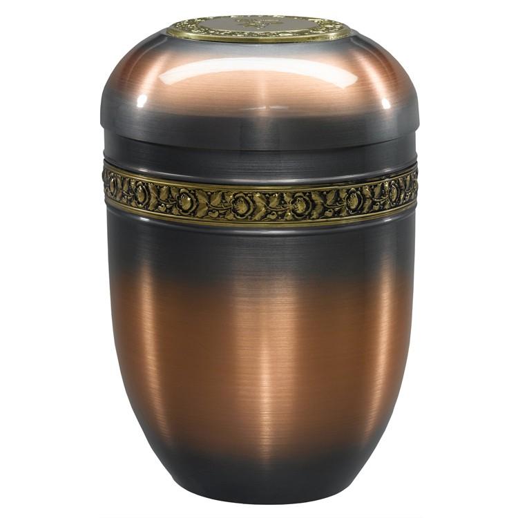 Kupfer-Urne mit Rosen-Dekorband und Deckelplatte: 260 mm, ø = 183 mm