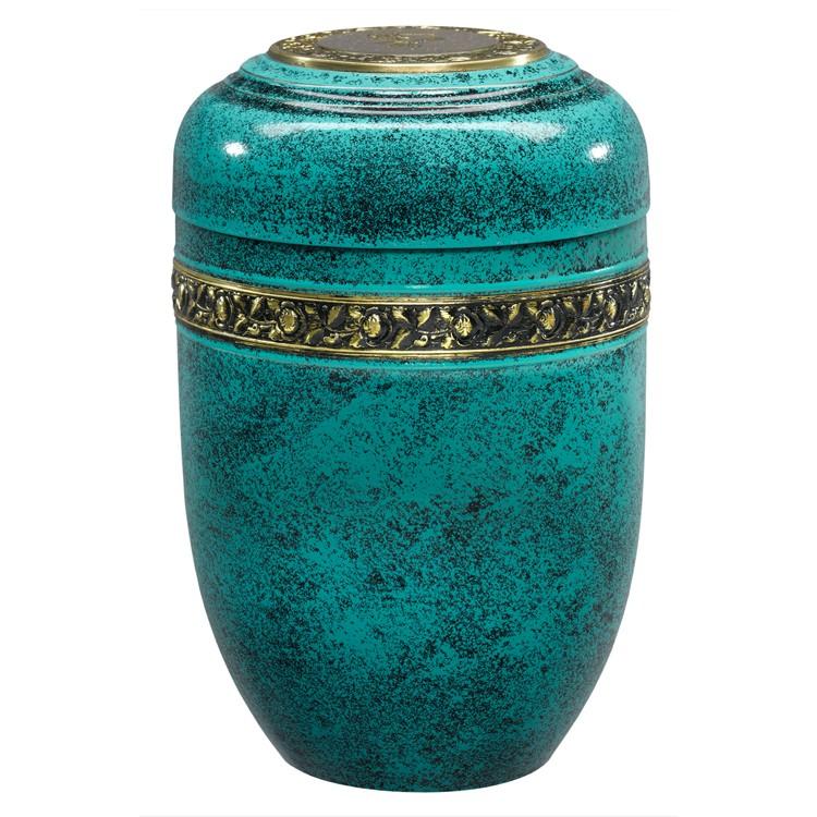 Kupfer-Urne mit antiker Patina, Rosen-Dekorband und Deckelplatte: 266 mm, ø = 179 mm