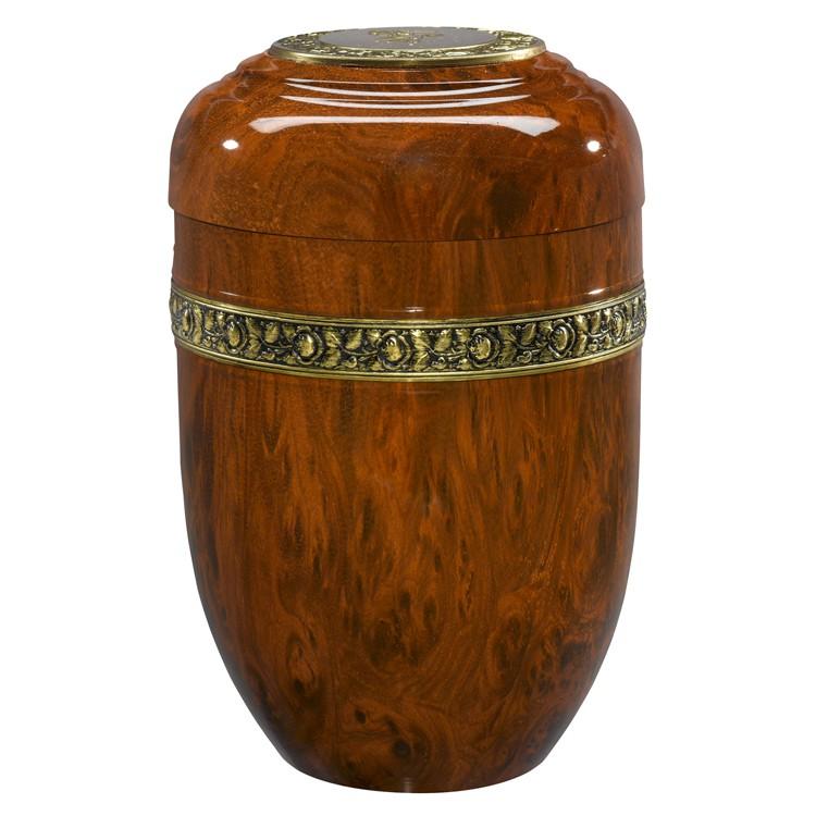 Kupfer-Urne Wurzelholzoptik mit Rosen-Dekorband und Deckelplatte: 266 mm, ø = 179 mm