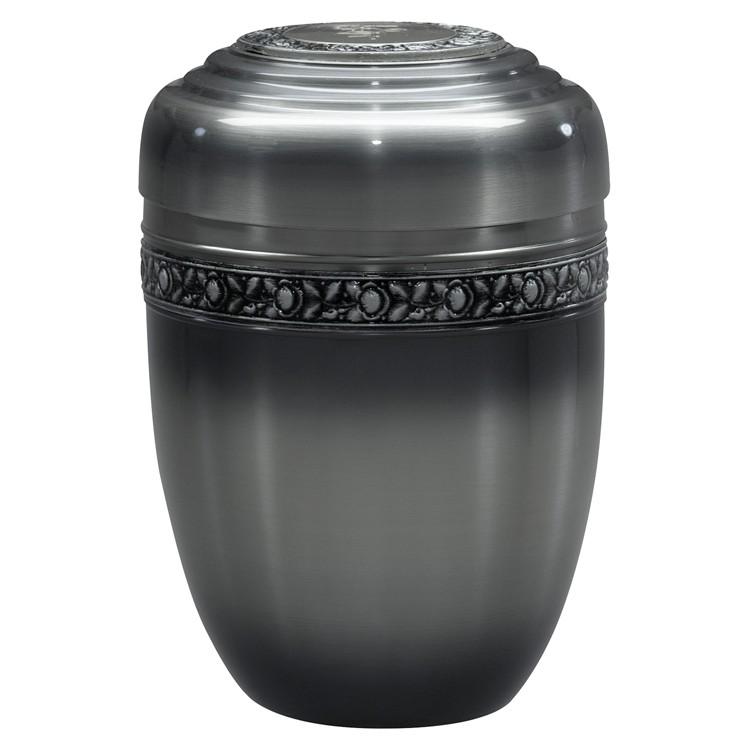 Kupfer-Urne zinnfarbig mit Rosen-Dekorband und Deckelplatte: 274 mm, ø = 182 mm